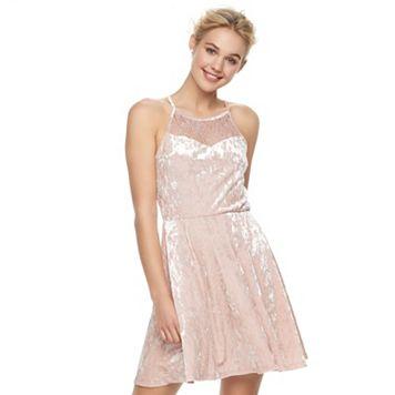 Juniors' Lily Rose High Neck Velvet Skater Dress