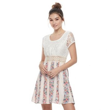 Juniors' Liberty Love Lace & Floral Skater Dress
