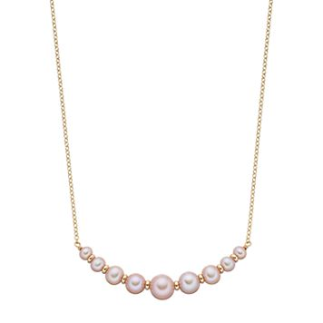 14k Gold Pink Freshwater Cultured Pearl Rondelle Curved Bar Necklace