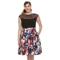 Plus Size Chaya Cap-Sleeve Mesh Dress