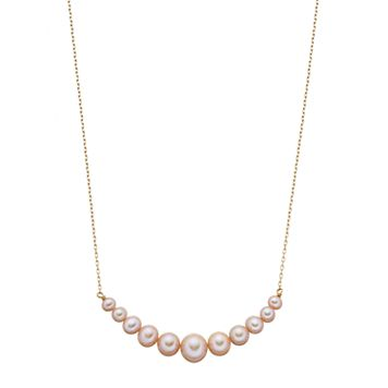 14k Gold Pink Freshwater Cultured Pearl Curved Bar Necklace