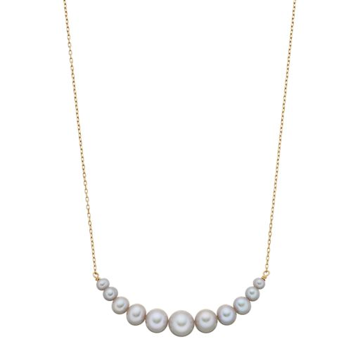 14k Gold Dyed Gray Freshwater Cultured Pearl Curved Bar Necklace