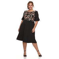 Plus Size Chaya Floral Ruffle-Sleeve Dress
