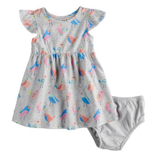 Baby Girl Jumping Beans® Printed Flutter Sleeve Dress