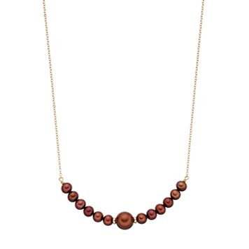 14k Gold Dyed Brown Freshwater Cultured Pearl Curved Bar Necklace