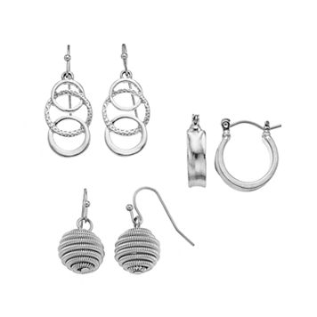 Wrapped, Circle Link & Hoop Nickel Free Earring Set