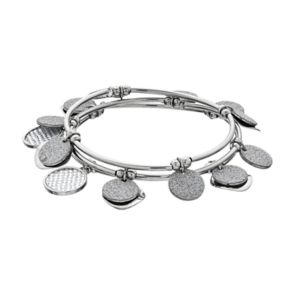 Textured & Hammered Shaky Disc Stretch Bracelet Set