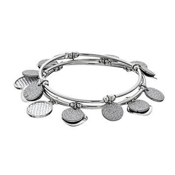 Textured & Hammered Shaky Disc Stretch Bracelet Set