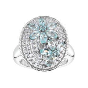 Sterling Silver Apatite & White Zircon Flower Disc Ring