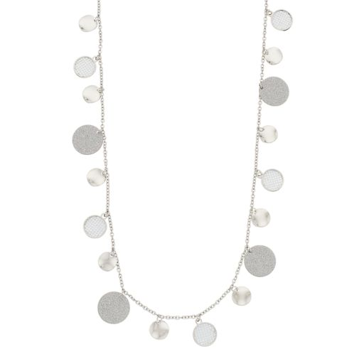 Long Textured & Hammered Shaky Disc Station Necklace