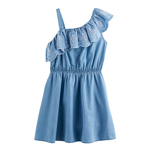 Girls 4-12 SONOMA Goods For Life™ Chambray Ruffle Dress