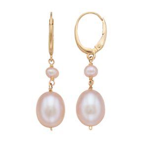 14k Gold Cultured Freshwater Pearl Leverback Drop Earrings