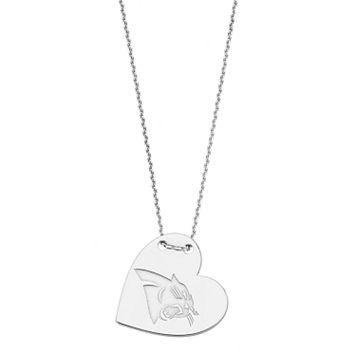 Sterling Silver Carolina Panthers Heart Pendant Necklace