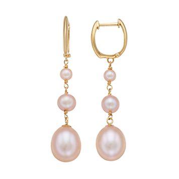 14k Gold Cultured Freshwater Pearl Graduated Linear Drop Earrings