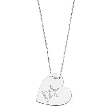Sterling Silver Dallas Cowboys Heart Pendant Necklace