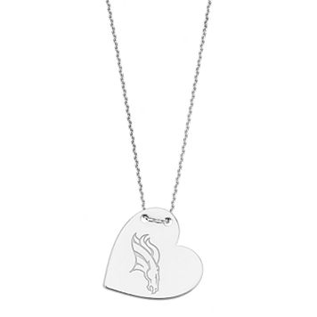 Sterling Silver Denver Broncos Heart Pendant Necklace