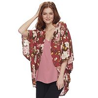 Juniors' Miss Chievous Floral Poncho Top