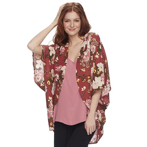 Juniors' Miss Chievous Floral Poncho Top
