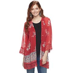 Juniors' Rewind Floral Lace-Trim Kimono