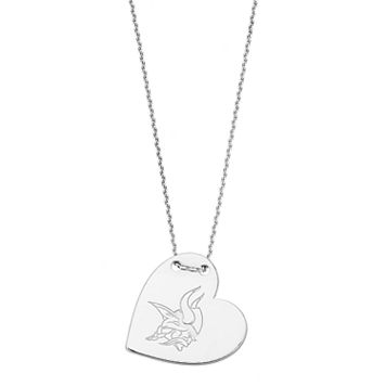 Sterling Silver Minnesota Vikings Heart Pendant Necklace