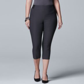 Plus Size Simply Vera Vera Wang Seamed Twill Capris