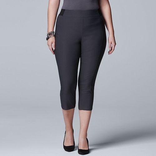 Plus Size Simply Vera Vera Wang Seamed Twill Capris