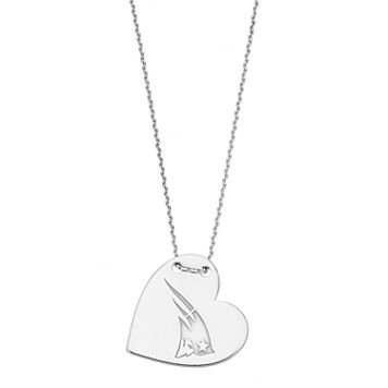 Sterling Silver New England Patriots Heart Pendant Necklace