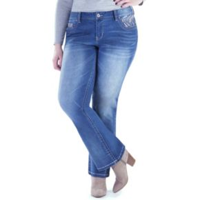 Juniors' Plus Size Amethyst Embellished Curvy Bootcut Jeans