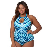 Plus Size Pink Envelope High-Neck Tankini Top