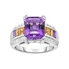 Sterling Silver Ametrine & Gemstone Ring