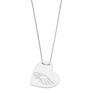 Sterling Silver Philadelphia Eagles Heart Pendant Necklace
