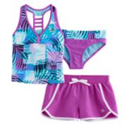 Girls 7-16 ZeroXposure 3-pc. Palm Print Tankini Set