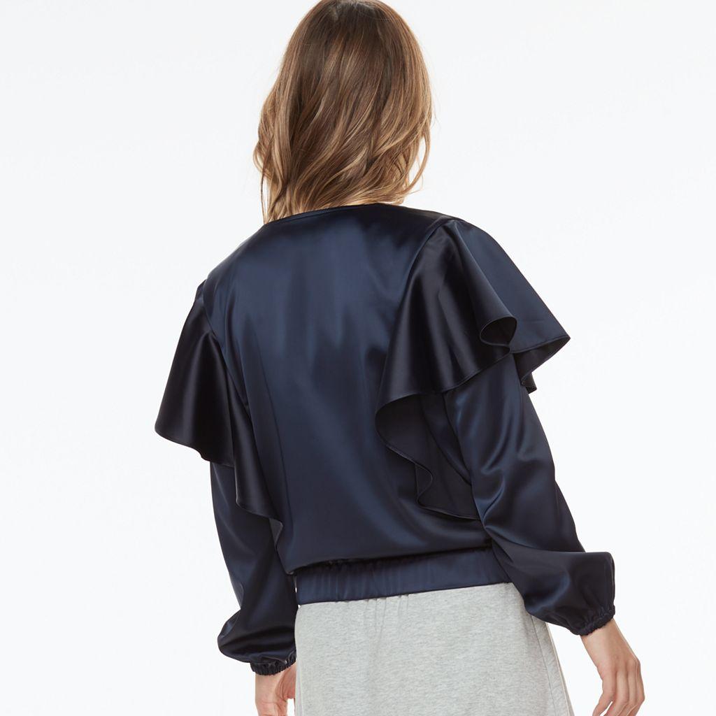 k/lab Asymmetrical Satin Jacket
