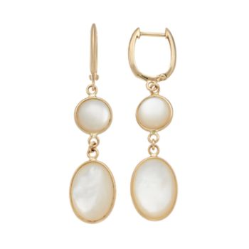 14k Gold Mother-of-Pearl Drop Earrings