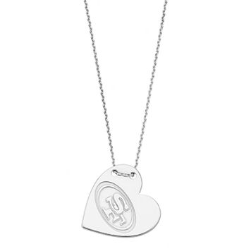 Sterling Silver San Francisco 49ers Heart Pendant Necklace