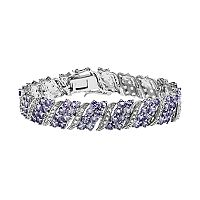 Sterling Silver Tanzanite & White Topaz Bracelet