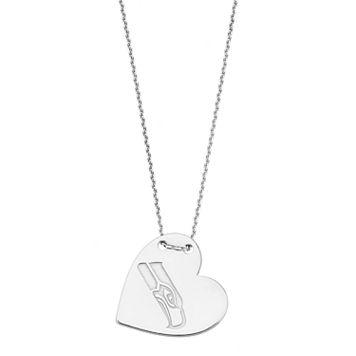 Sterling Silver Seattle Seahawks Heart Pendant Necklace