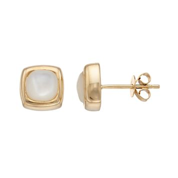 14k Gold Mother-of-Pearl Square Stud Earrings