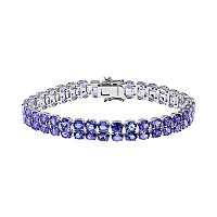 Sterling Silver Tanzanite Double Row Bracelet