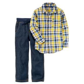 Boys 4-8 Carter's Plaid Shirt & Pull On Jeans Set