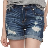 Juniors' Indigo Rein Ripped Midi Jean Shorts