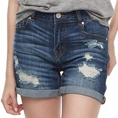 Juniors' Indigo Rein Ripped Midi Jean Shorts