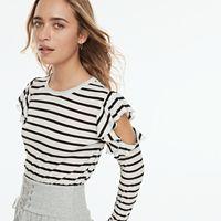 k/lab Striped Cold-Shoulder Top