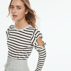 k/lab Striped Cold-Shoulder Top
