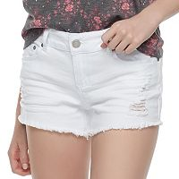 Juniors' Indigo Rein Destructed Frayed Jean Shorts