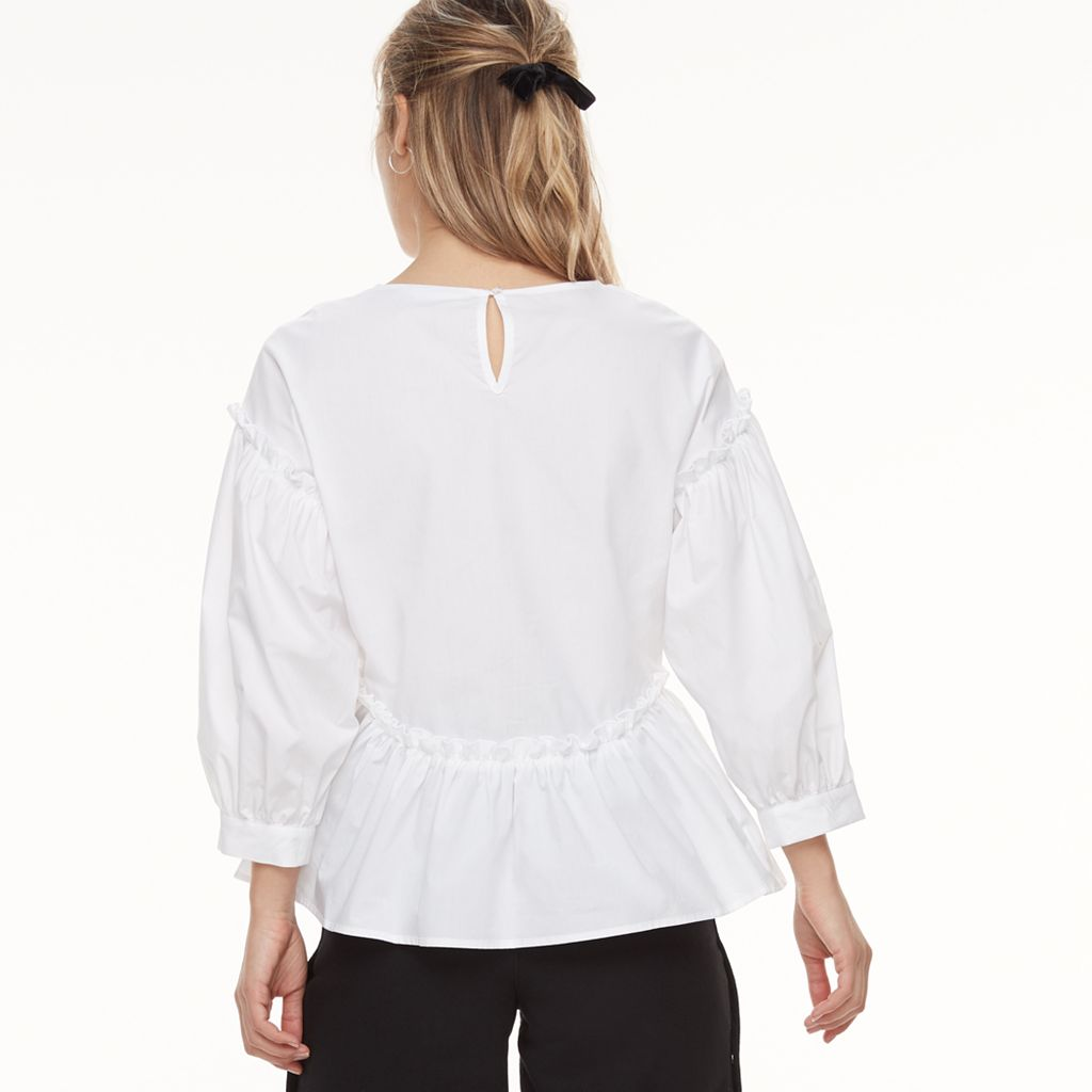 k/lab Balloon Sleeve Peplum Blouse