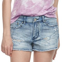 Juniors' Indigo Rein Frayed Jean Shorts