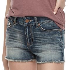 Juniors' Indigo Rein Frayed Jean Shorts