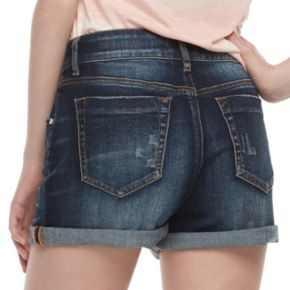 Juniors' Indigo Rein High Rise Cuffed Jean Shorts