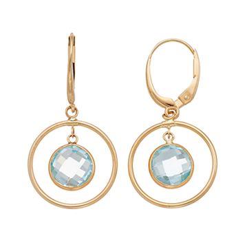 14k Gold Blue Topaz Hoop Drop Earrings